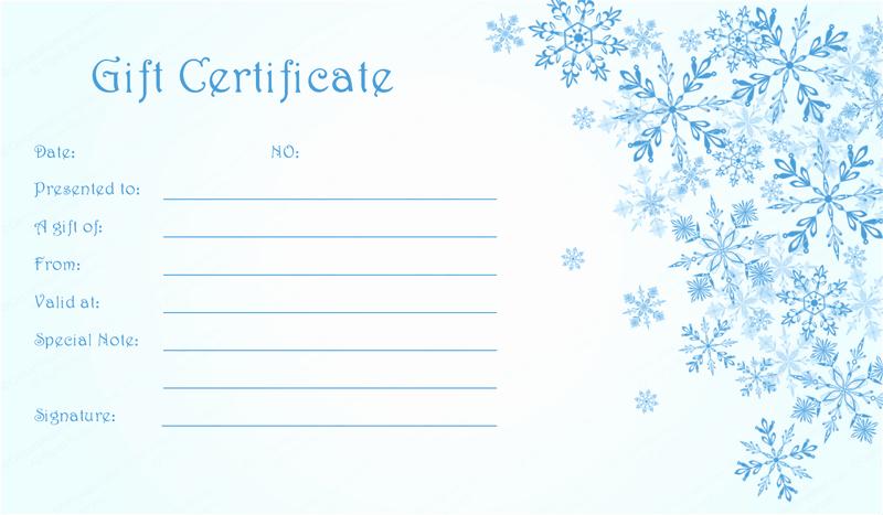 Christmas Award Certificate Template Beautiful Blue Snowflake Christmas Gift Certificate Template
