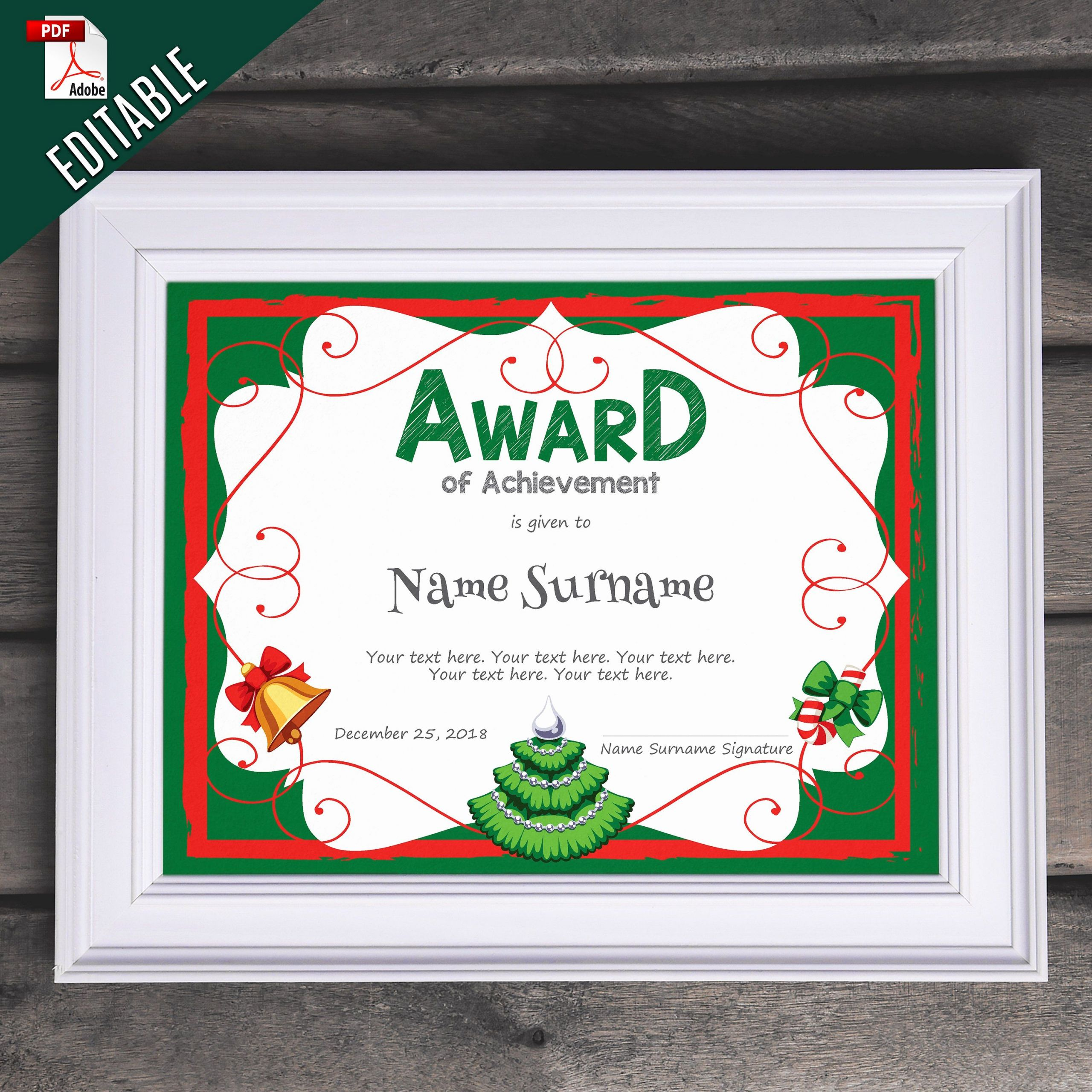 Christmas Award Certificate Template Beautiful Pin by Editable & Printable Templates Diy event Printables