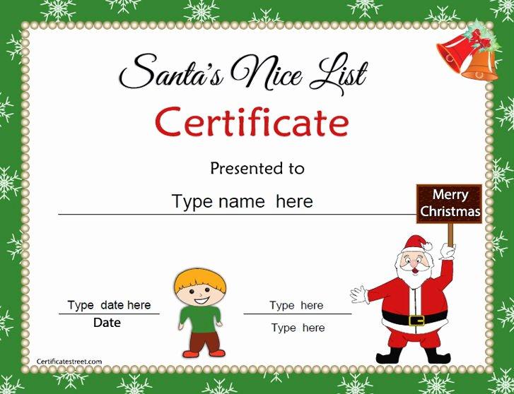 Christmas Award Certificate Template Beautiful Special Certificates Christmas Certificates for Kids