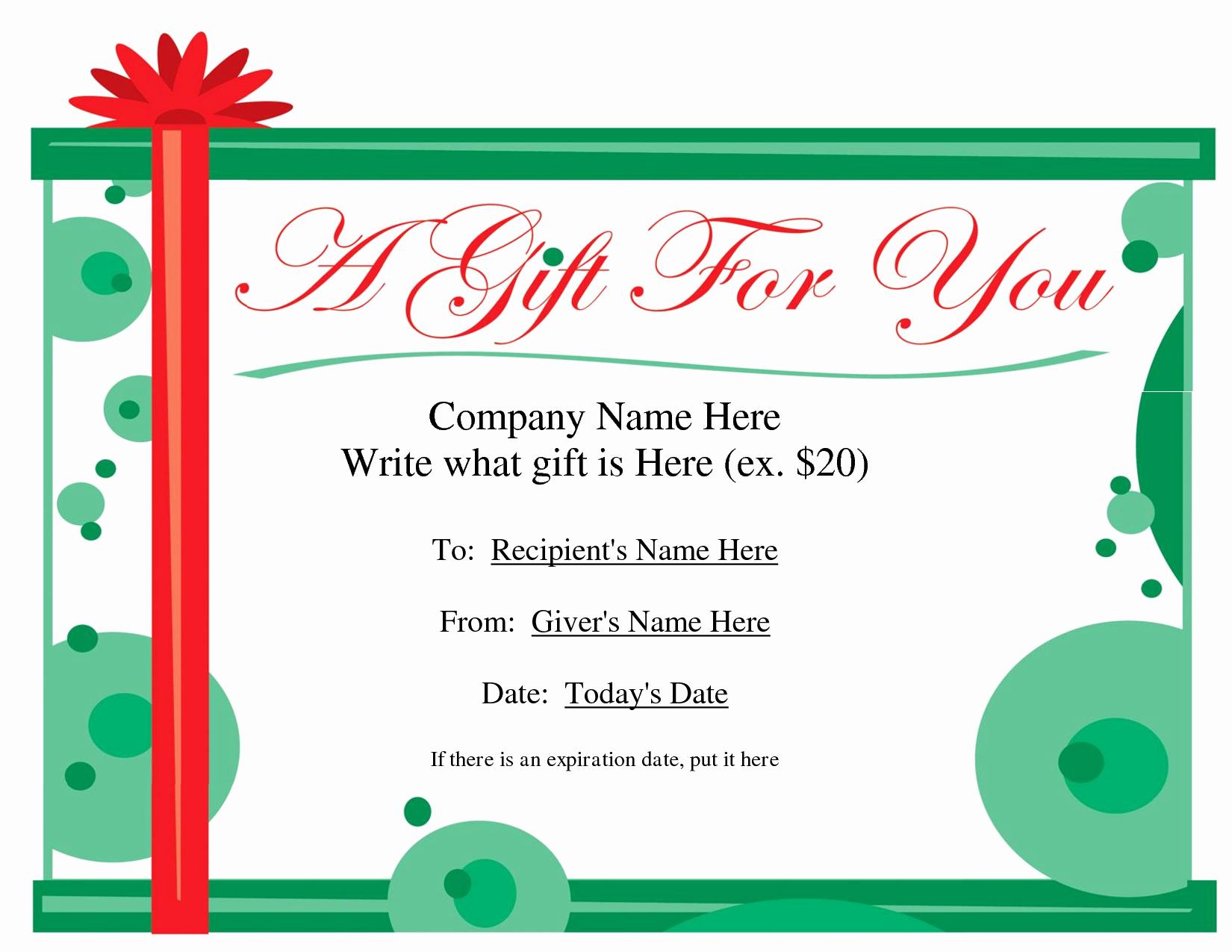 Christmas Award Certificate Template Inspirational Free Printable Gift Certificate Template