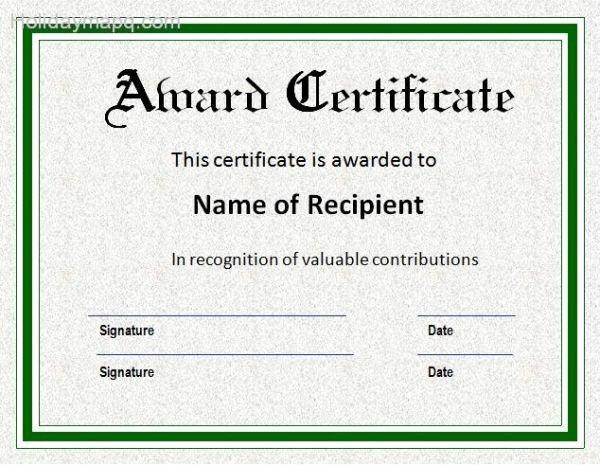 Christmas Award Certificate Template Lovely Award Certificate Template Holidaymapq