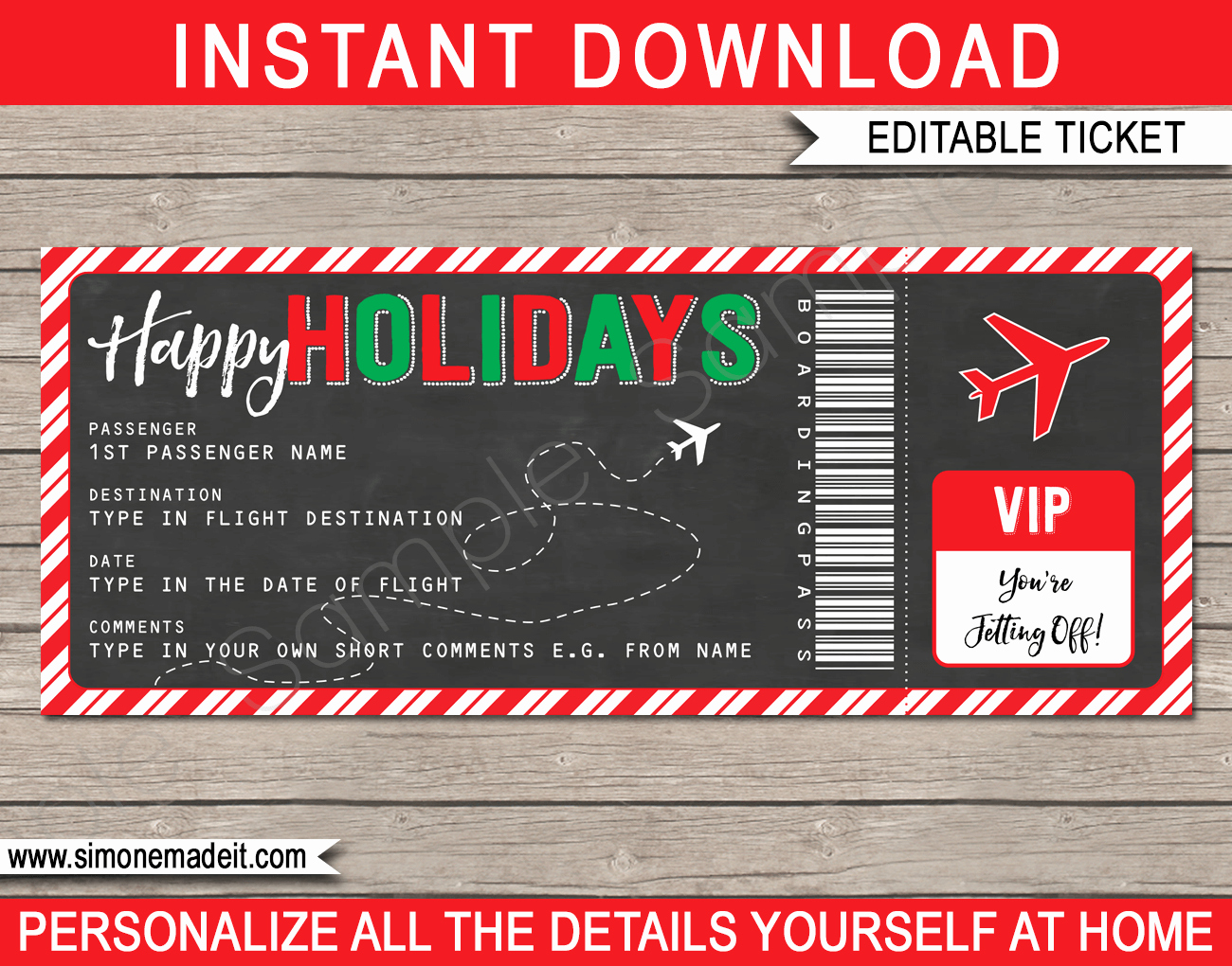 Christmas Fake Book Pdf Download Free New Holiday Gift Boarding Pass Ticket Template