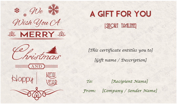 Christmas Gift Certificate Template Word Inspirational 24 Christmas & New Year Gift Certificate Templates