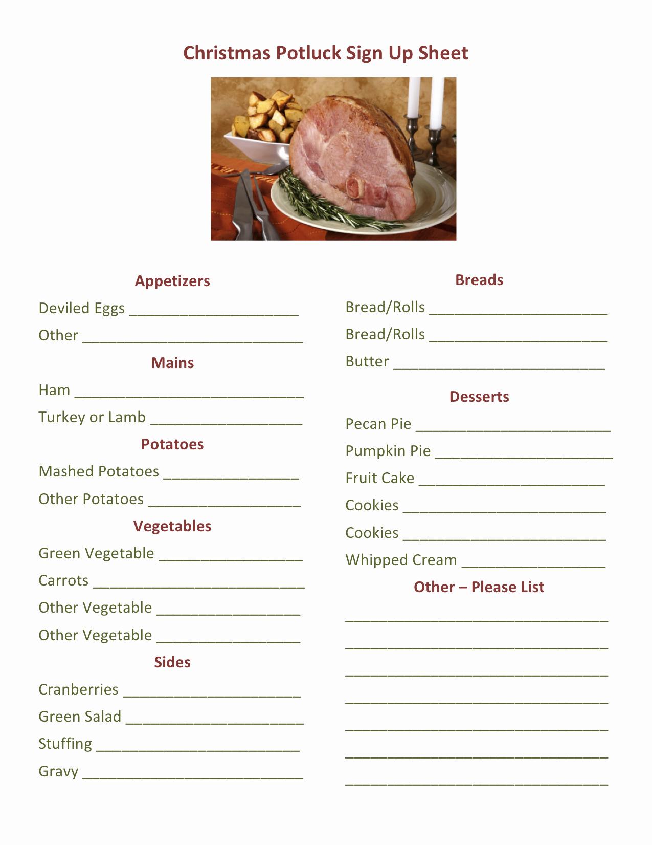 Christmas Potluck Sign Up Sheet Awesome Christmas Potluck Signup Printable