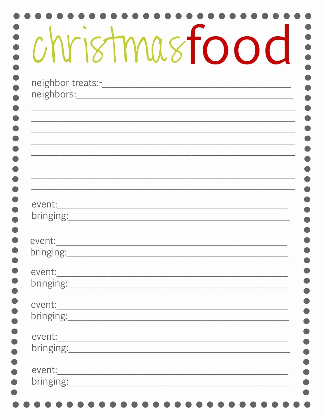 Christmas Potluck Sign Up Sheet Elegant Pot Luck List for An Unfor Table Party