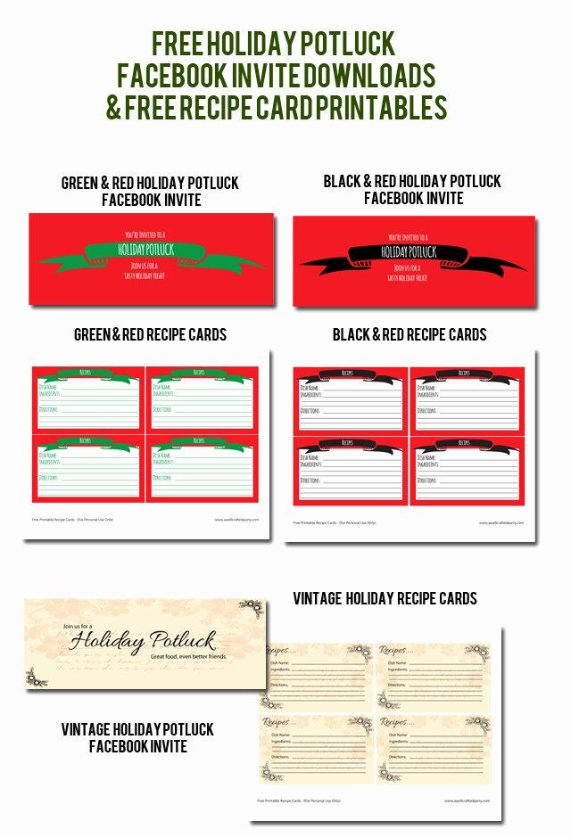 Christmas Potluck Sign Up Sheet Fresh Free Holiday Potluck Invites & Recipe Card