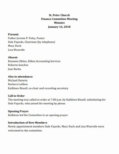 Church Staff Meeting Agenda Template Lovely Free 15 Church Meeting Minutes Examples & Templates