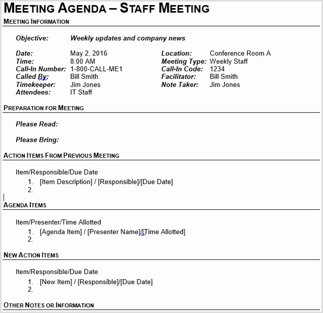 Church Staff Meeting Agenda Template Unique 15 Best Meeting Agenda Templates for Word