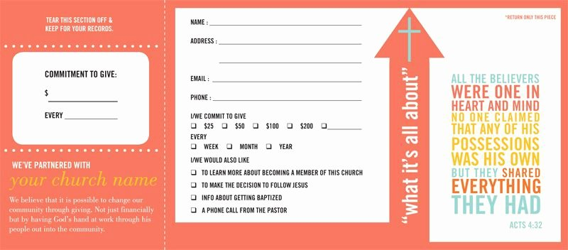 Church Visitor Card Template Generator Awesome Pledge and Wel E Cards Church Fering Envelopes by