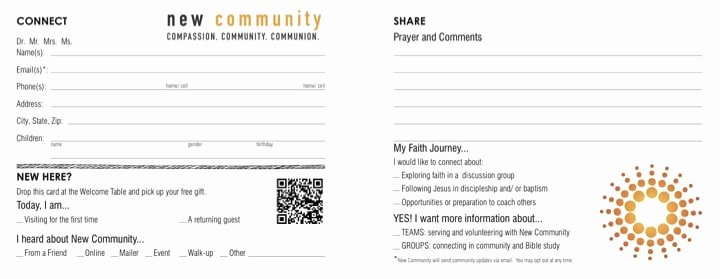 Church Visitor Card Template Generator Elegant Electronic Connection Card for Your Church Plant