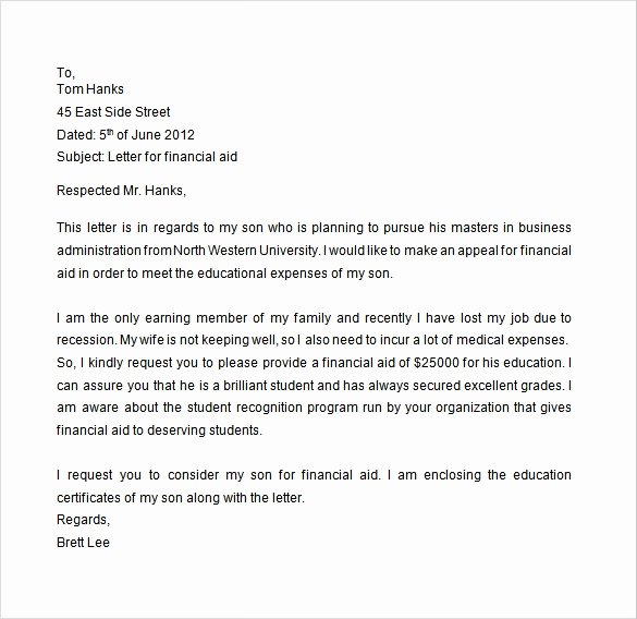 College Appeal Letter Example Elegant Free 7 Financial Aid Appeal Letters In Doc