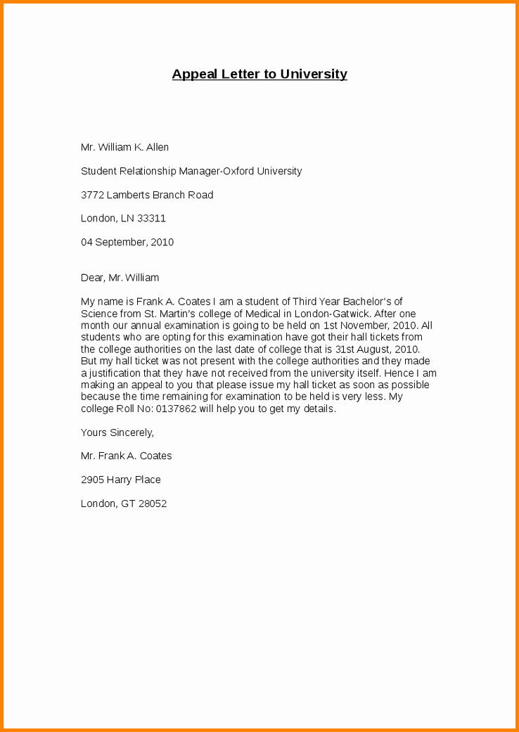 College Appeal Letter Example New 24 Of Example College Admission Appeal Template