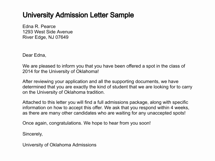 College Application Sample Beautiful College Admission Letters