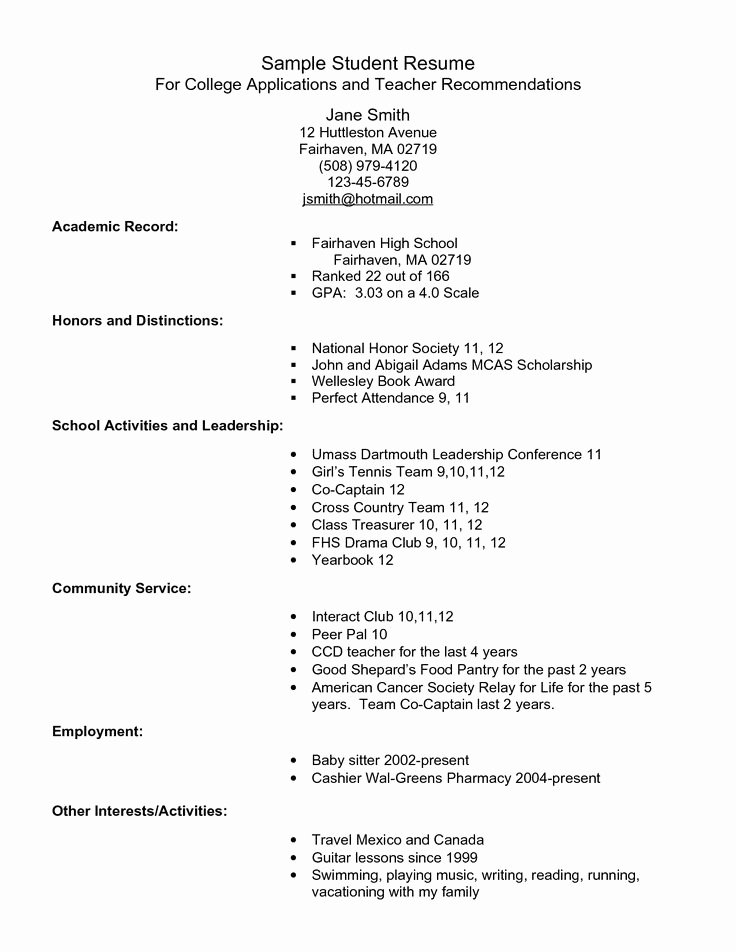 College Application Sample Luxury Example Resume for High School Students for College