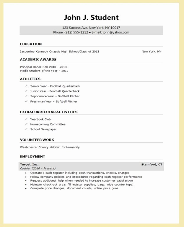 College Application Sample New Sample Resume for College Application