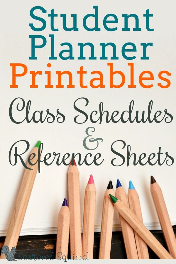 College Class Schedule Planner Best Of Student Planners Class Schedules and Reference Sheets