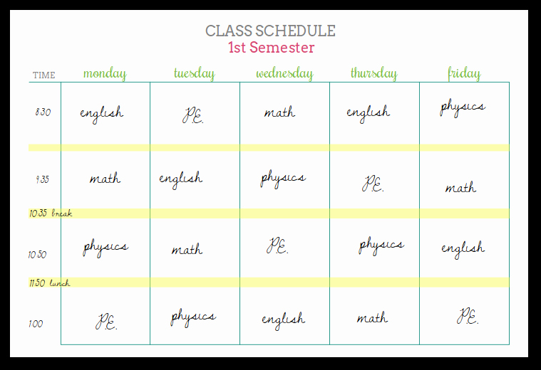 student planner printables class schedules and reference sheets