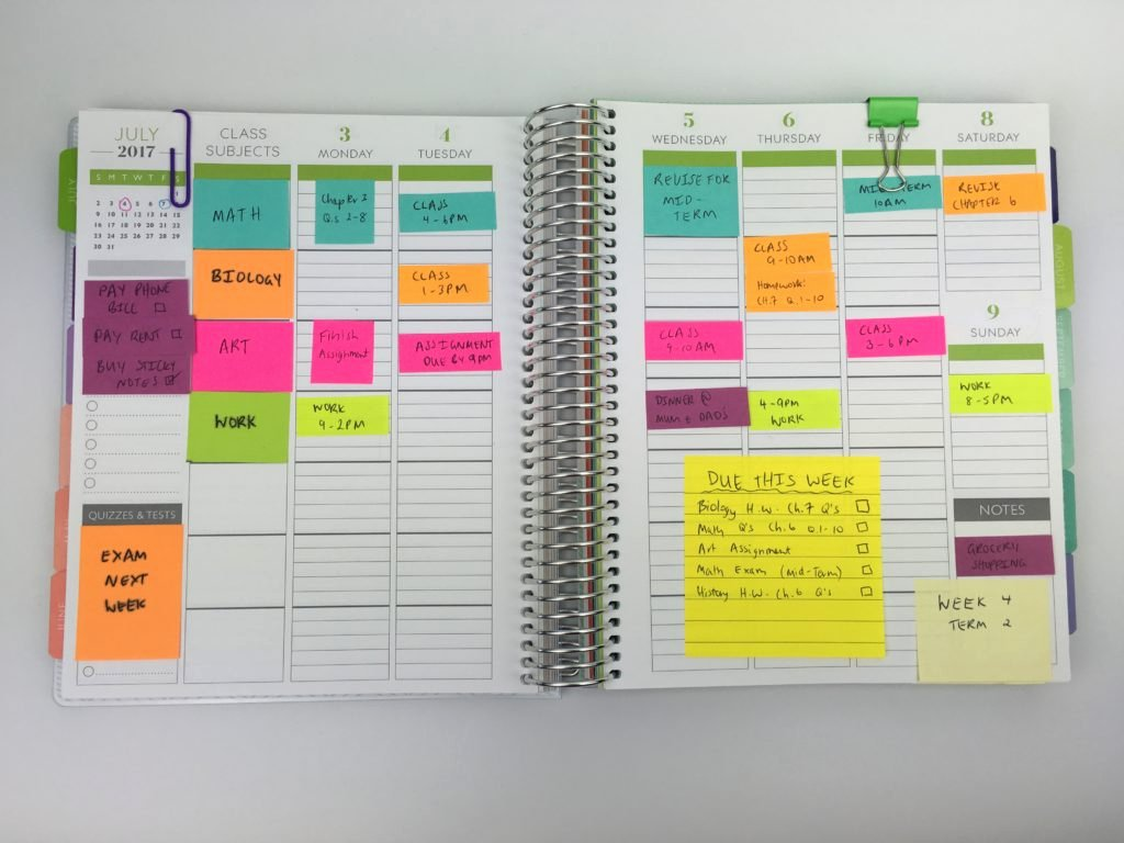 College Class Schedule Planner Inspirational 10 Ways to Plan Using Sticky Notes All About Planners