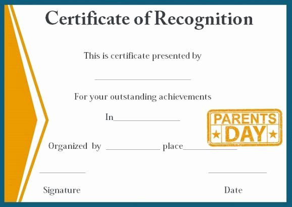 College Signing Day Certificate Template Inspirational Certificate Of Recognition for Outstanding Parents