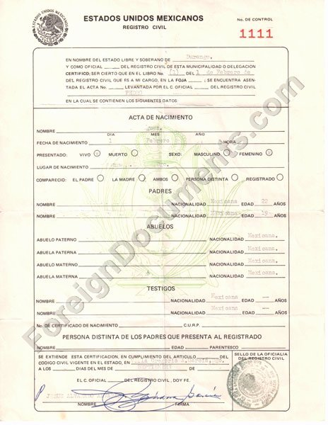 Colombian Birth Certificate Translation Template Elegant Certified Spanish Translation Mexican Birth Certificate