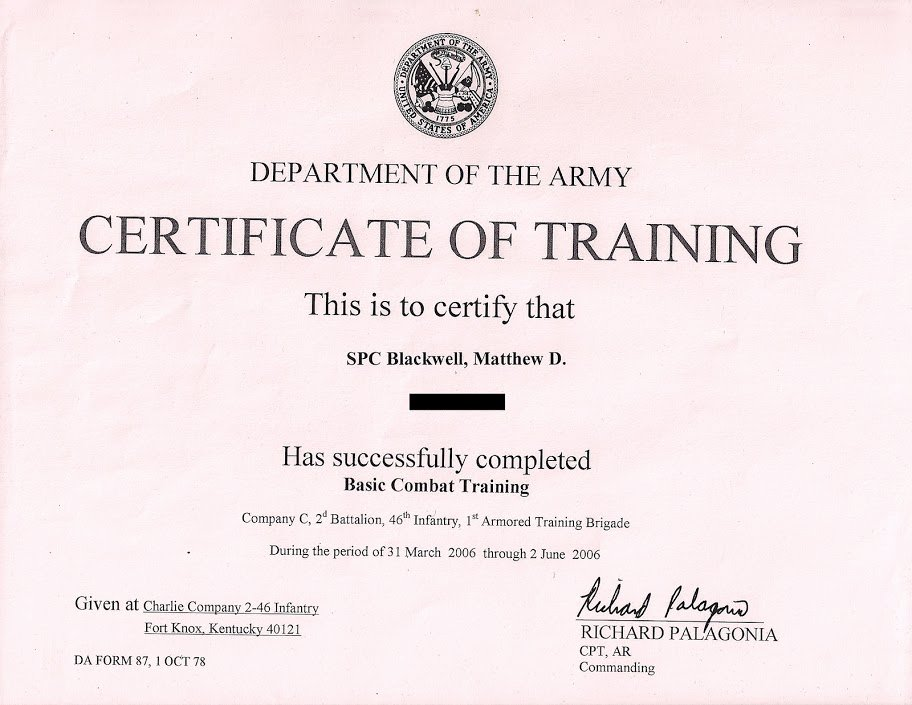 Combat Action Badge Certificate Template Awesome Matthew D Backwell