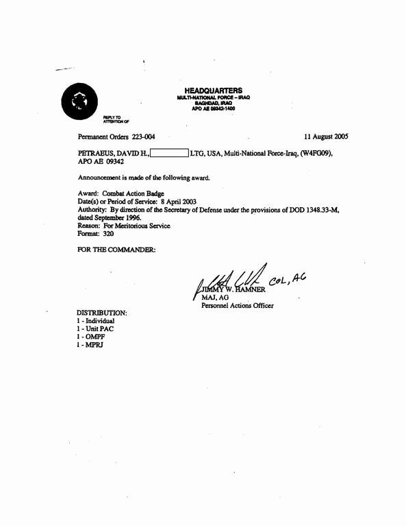 Combat Action Badge Certificate Template Inspirational File Petraeus Bat Action Badge orders Pdf Wikimedia