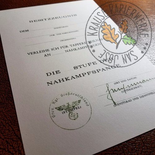 Combat Action Badge Certificate Template Inspirational Wehrmacht Close Bat Clasp Nahkampfspange Document