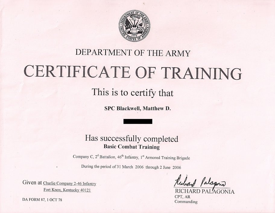 Combat Lifesaver Certificate Template Elegant Army Certificate Training Template