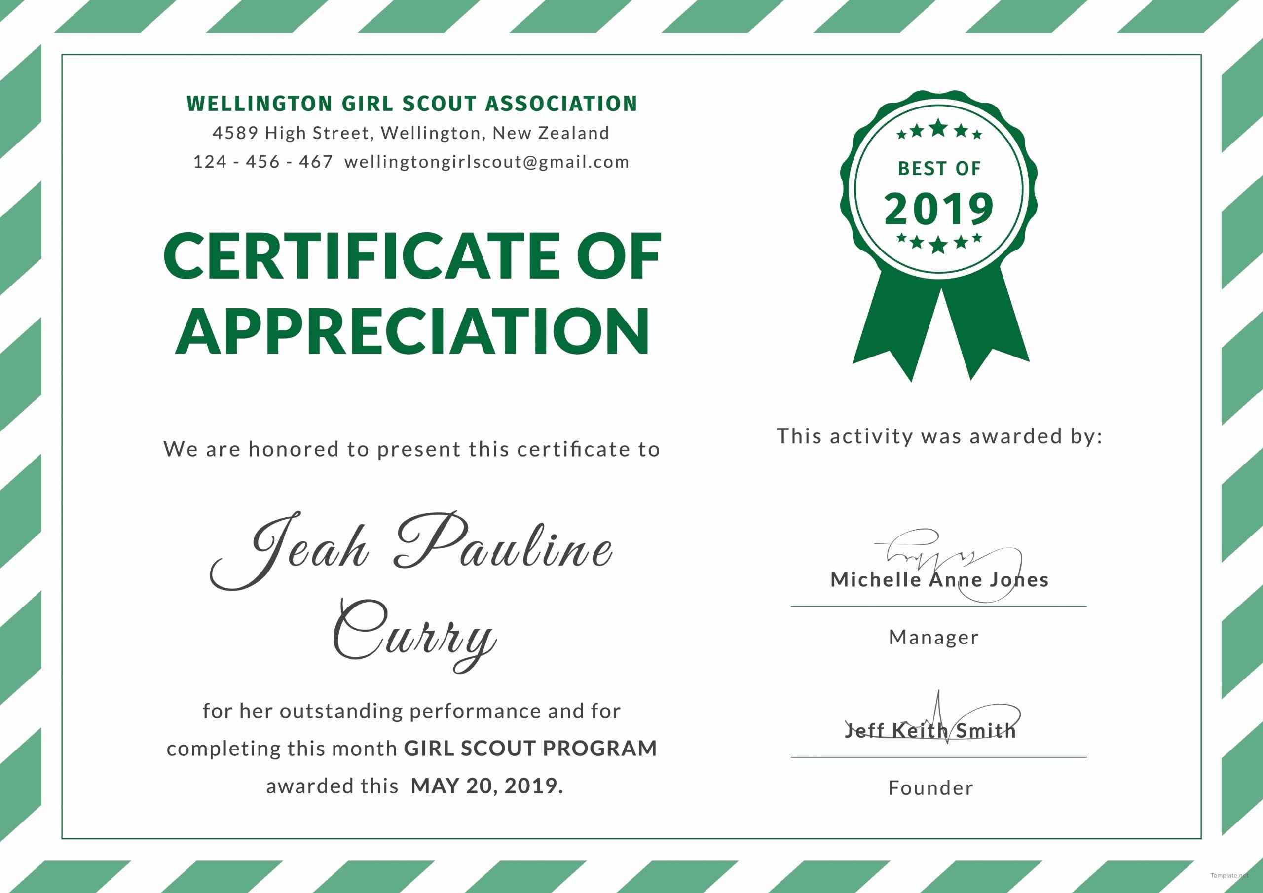 Combat Lifesaver Certificate Template Fresh Certificate Appreciation Girl Scouts