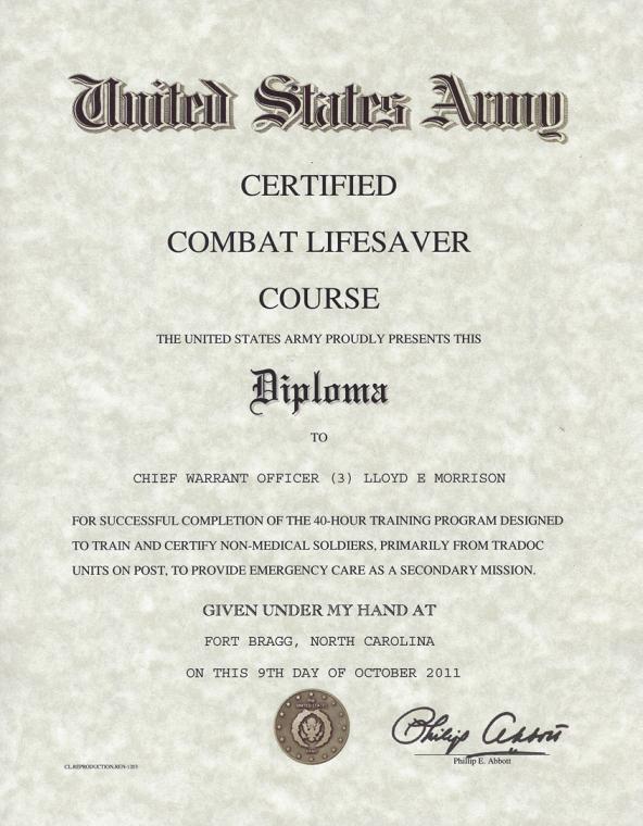 Combat Lifesaver Certificate Template Inspirational Army Certified Bat Lifesaver Certificate