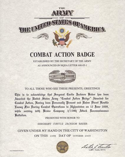 Combat Lifesaver Certificate Template New Bat Action Badge Certificate Of Bat Service