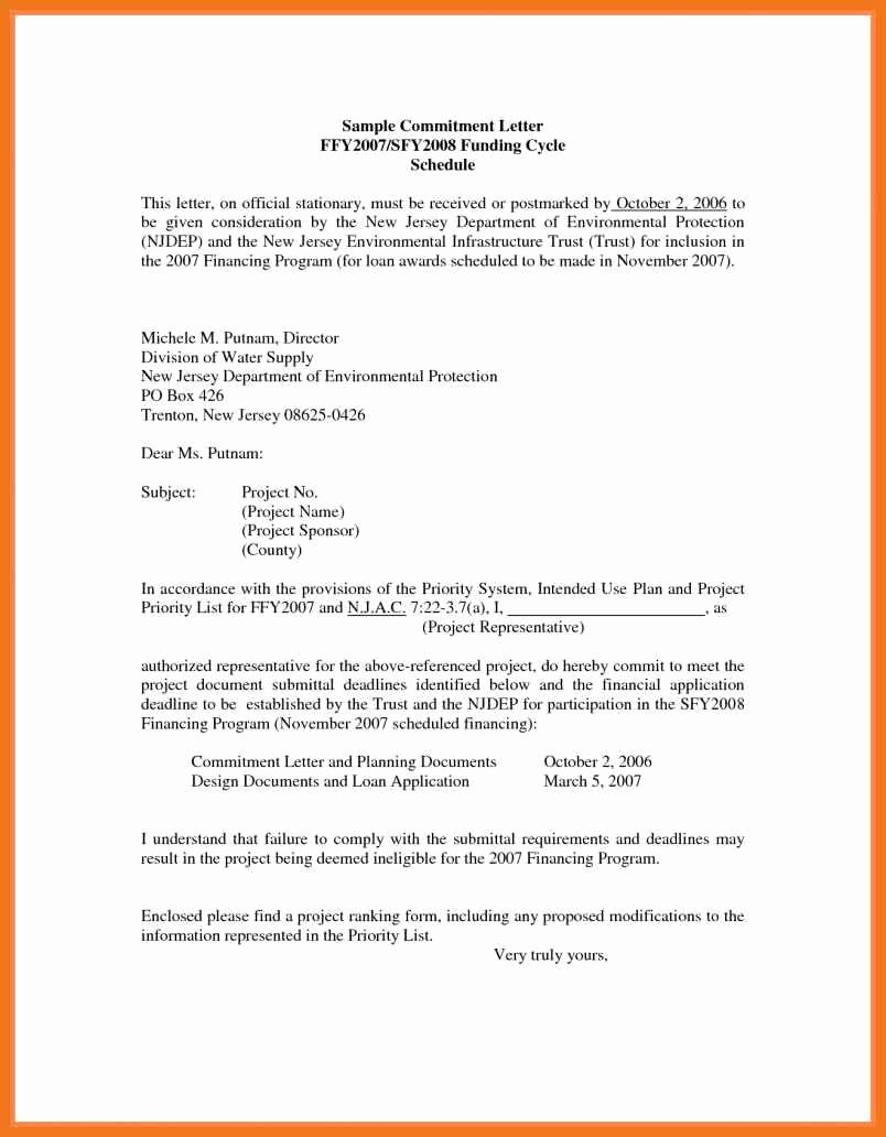 Commitment Letter for Job Luxury 4 5 Loan Mitment Letter Sample