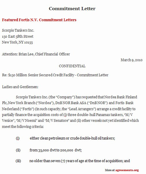 Commitment Letter for Work Fresh Mitment Letter Agreement Template Download Pdf