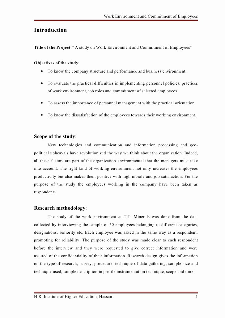 Commitment Letter for Work Unique A Study On Work Environment and Mitment Of Employees