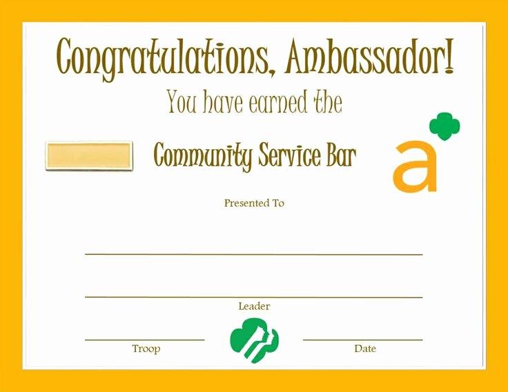 girl scout ambassador certificates etc
