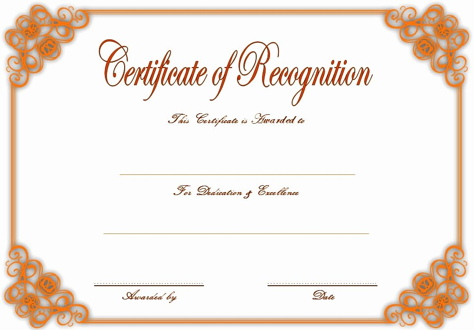 Community Service Award Template Awesome Recognition Certificate Editable 10 Best Ideas