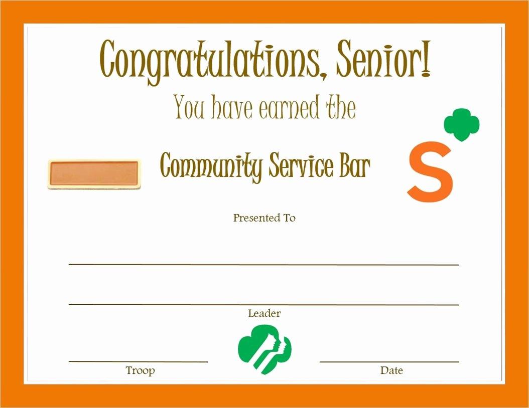 Community Service Award Template Beautiful Senior Munity Service Bar Certificate