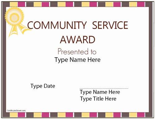 Community Service Award Template Best Of Education Certificates Munity Service Award