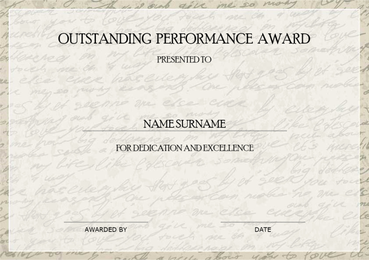 Community Service Award Template Best Of Outstanding Performance Award