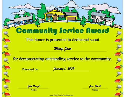 Community Service Award Template Elegant Munity Service Award Printable Certificate