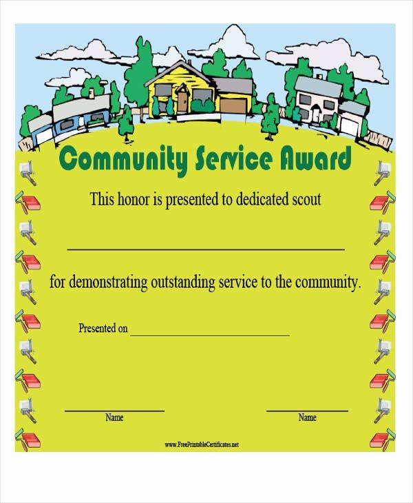 Community Service Award Template Luxury 21 Award Certificates Samples & Templates Word Psd Ai