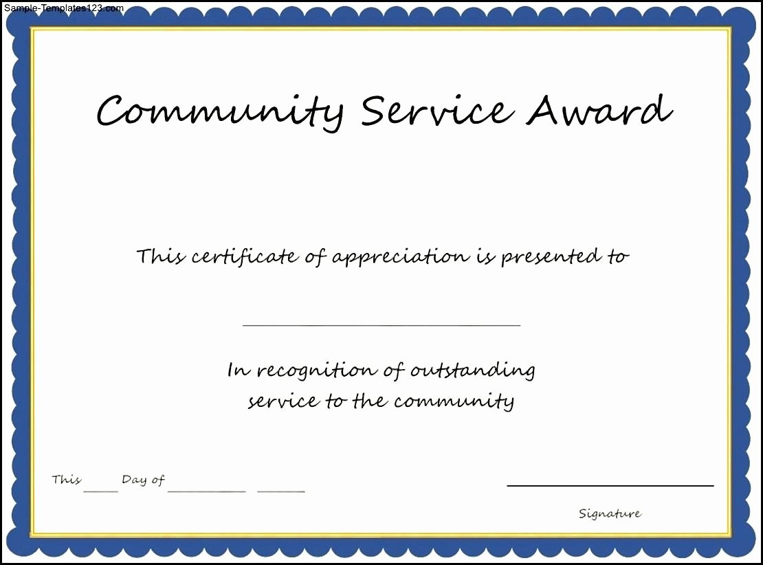 Community Service Award Template Luxury Munity Service Award Template Sample Templates