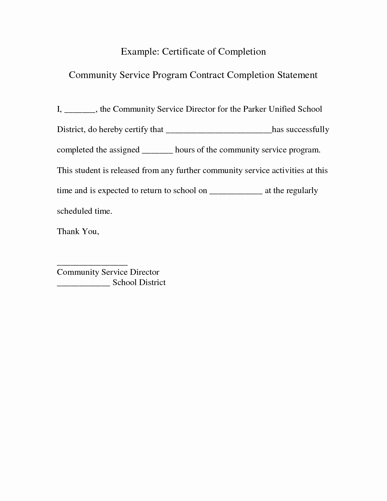 Community Service Certificate Template Elegant Project Pletion Letter Sample