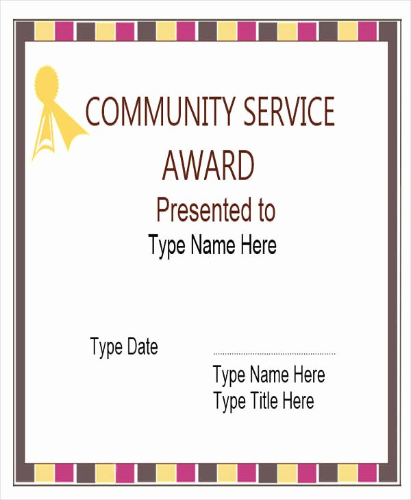 Community Service Certificate Template Fresh 31 Award Certificates In Word format