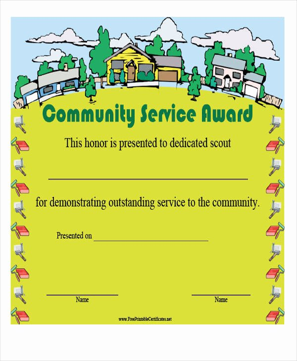 Community Service Certificate Template New 21 Award Certificates Samples & Templates Word Psd Ai