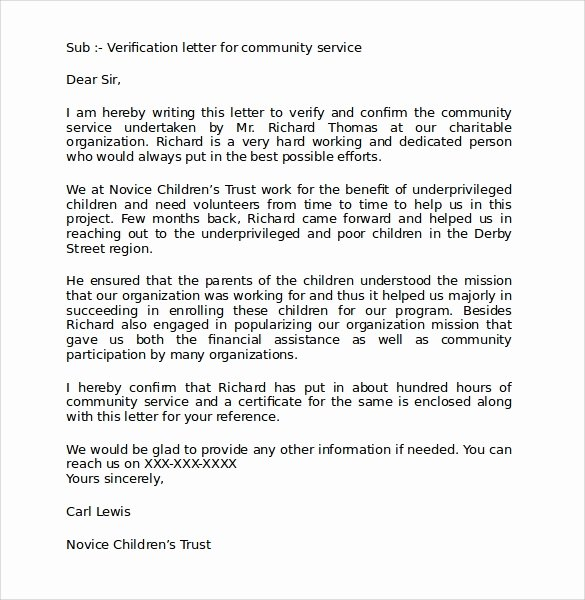 Community Service Certificate Template New Sample Munity Service Letter 25 Download Free