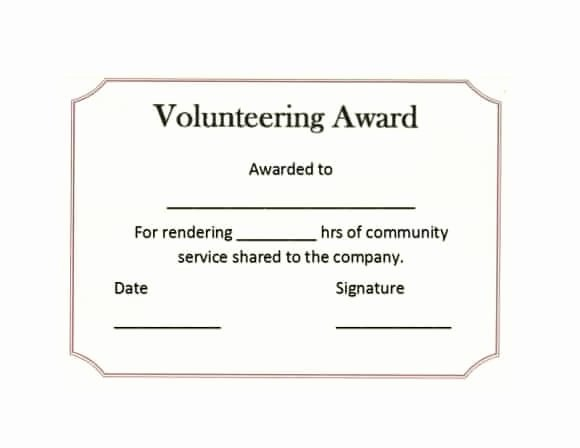 Community Service Hours Certificate Template Best Of 50 Free Volunteering Certificates Printable Templates