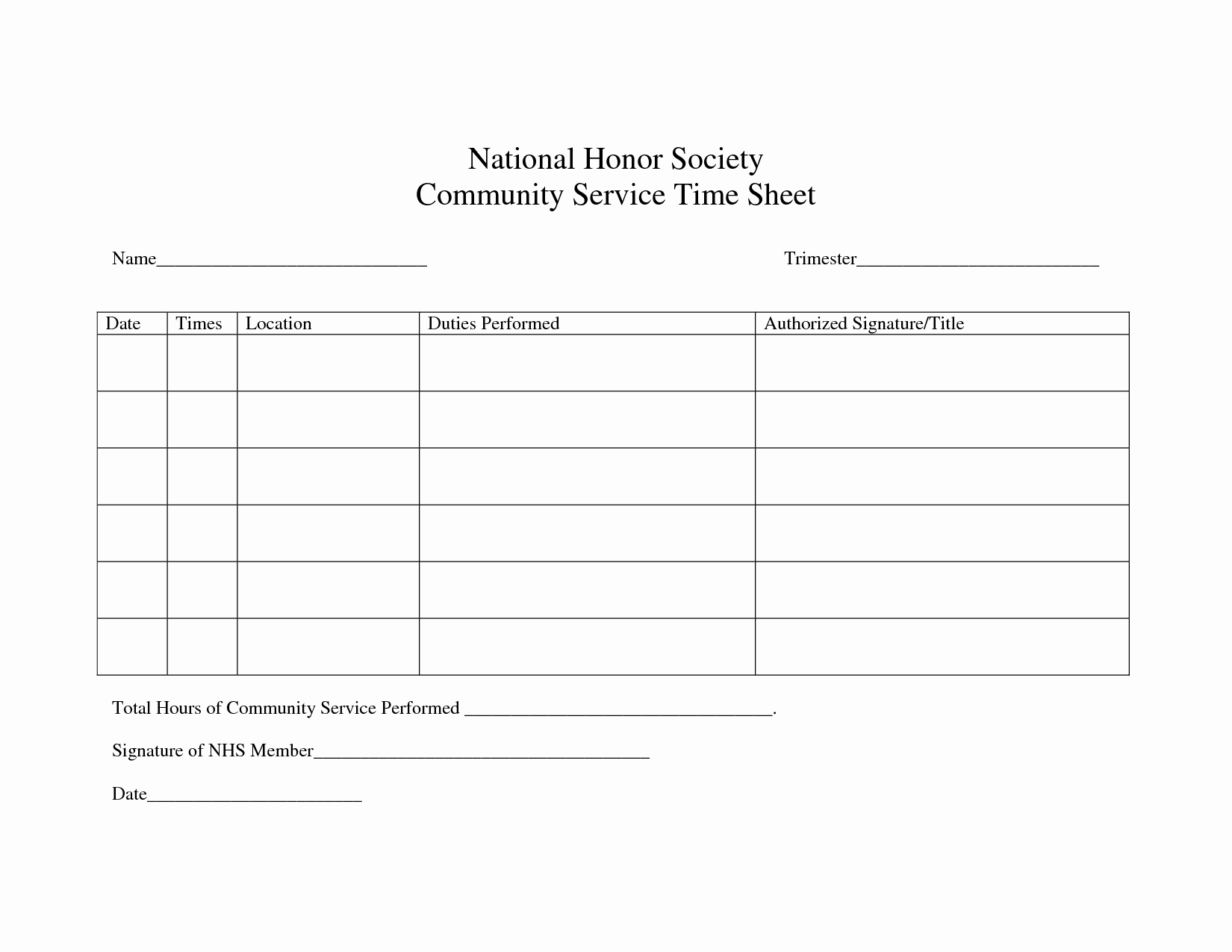 Community Service Hours Certificate Template Lovely Image Result for National Junior Honor society Service