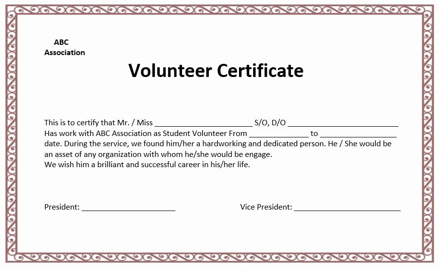 Community Service Hours Certificate Template New Volunteer Certificate Template Microsoft Word Templates