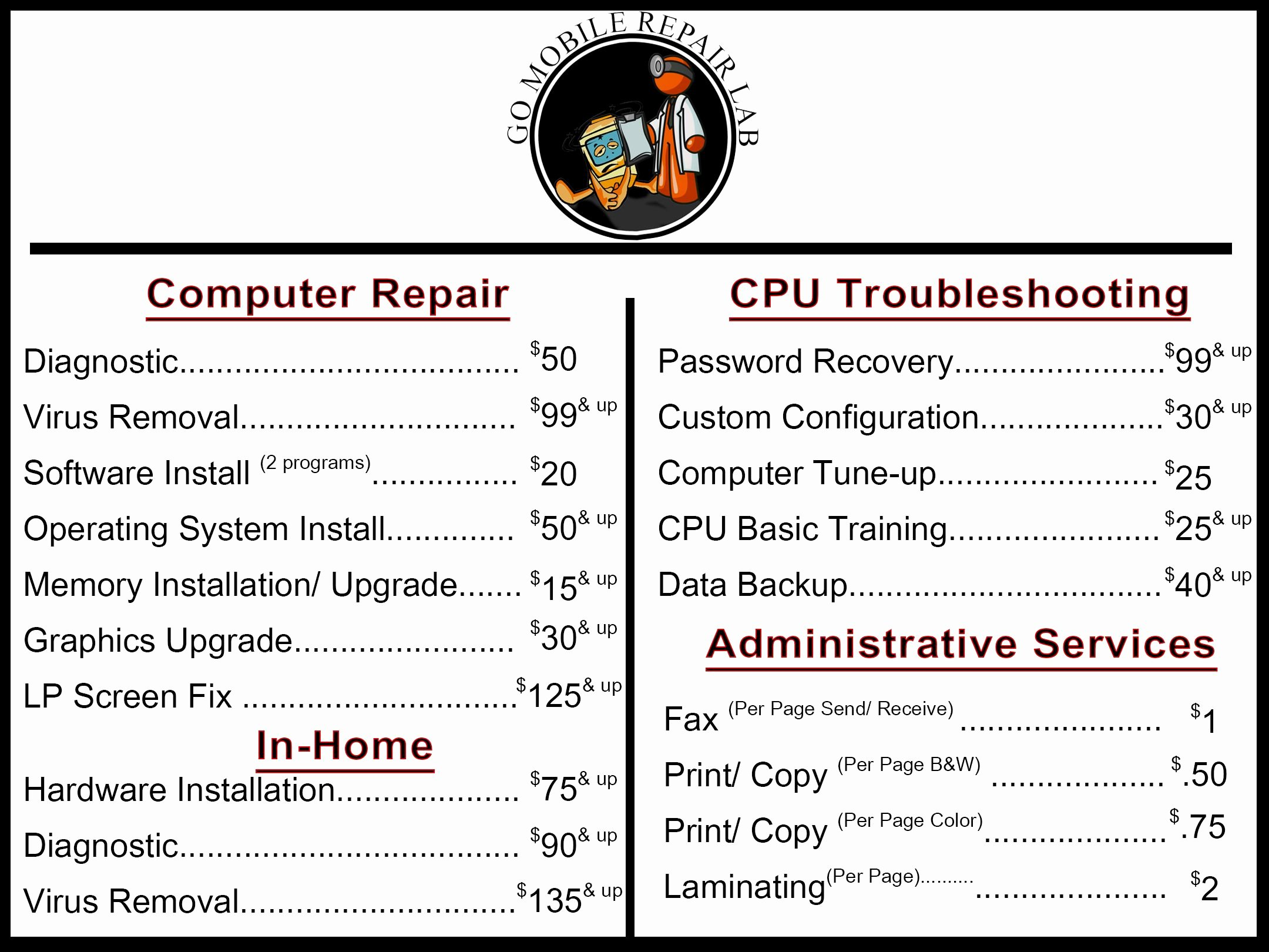 Computer Repair Price List Template Lovely Pin by Michael Weeks On It Inspiration